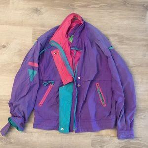 Vintage Colorful Windbreaker 90s Small Jacket